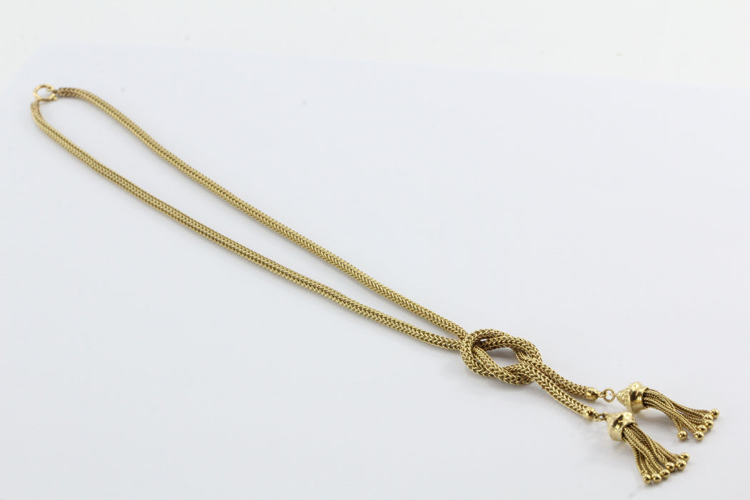 Vintage Victorian Revival Knotted Tassel 14K Gold Rope Necklace - Queen May