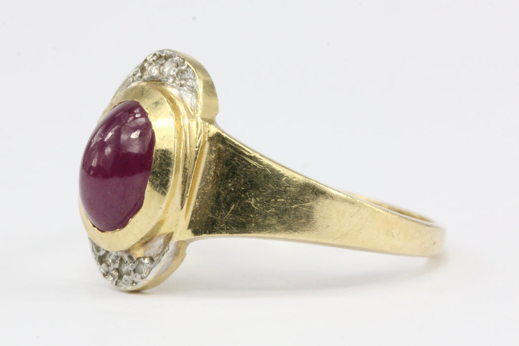 14K Yellow Gold 1.5 CT Natural Ruby Cabochon and Diamond Ring Size 7.75