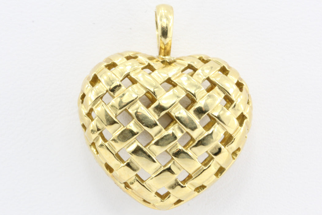 Tiffany co 18k gold vannerie woven puffy heart pendant queen may tiffany co 18k gold vannerie woven puffy heart pendant aloadofball Gallery