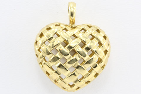 Tiffany & Co 18K Gold Vannerie Woven Puffy Heart Pendant