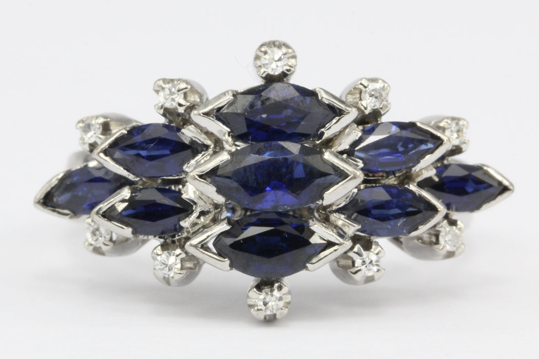 18K White Gold Natural Sapphire and Diamond Cluster Ring Size 6.75