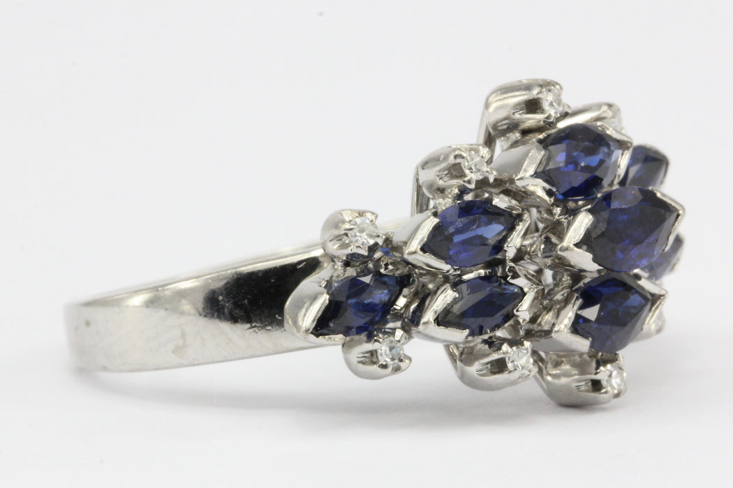 18K White Gold Natural Sapphire and Diamond Cluster Ring Size 6.75 - Queen May