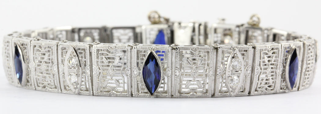 Antique Art Deco 14K White Gold Diamond & Sapphire Tennis Bracelet - Queen May