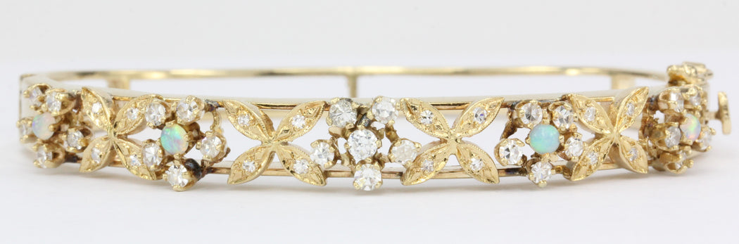 Retro 14K Gold Diamond Opal Floral Bangle Bracelet c.1950 - Queen May