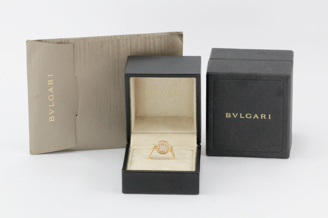 Bvlgari 18K Rose Gold Flip Ring Set w/Mother of Pearl and Pave Diamonds - Queen May