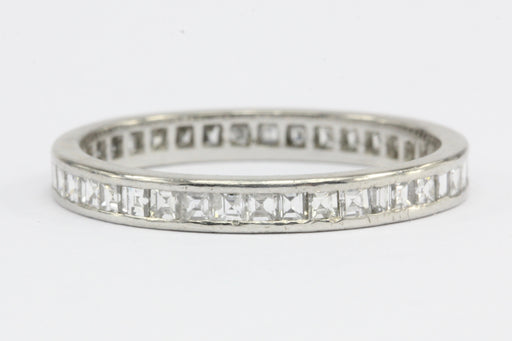 Art Deco Platinum Rare Carre Cut Diamond Eternity Band Size 6.5