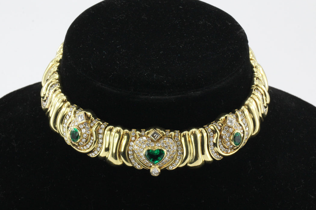 Vintage 18K Gold Emerald 4 CTW & Diamond 6.6 CTW Chunky Italian Collar Necklace - Queen May