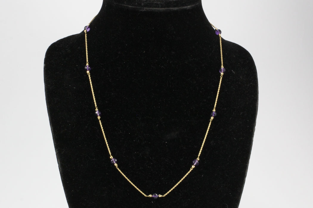 14K Yellow Gold Amethyst Bead Necklace - Queen May