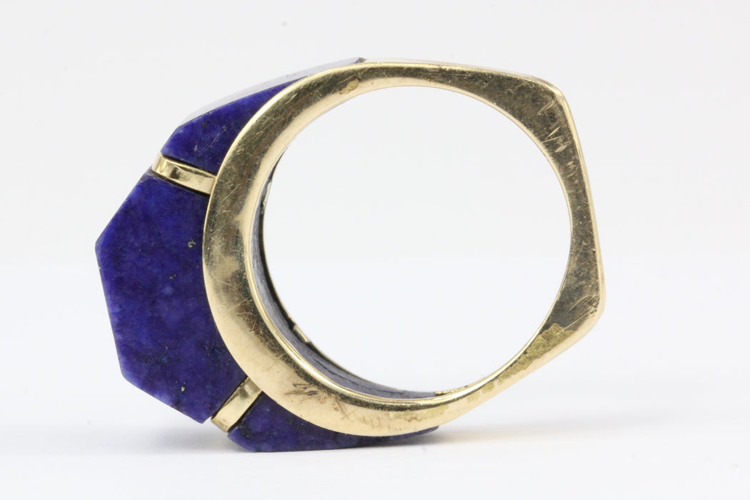 14K White Gold Lapis Lazuli Geometric Dome Ring Size 6