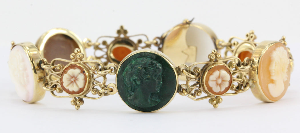Victorian Revival Carved Shell 14K Gold Cameo Bracelet - Queen May
