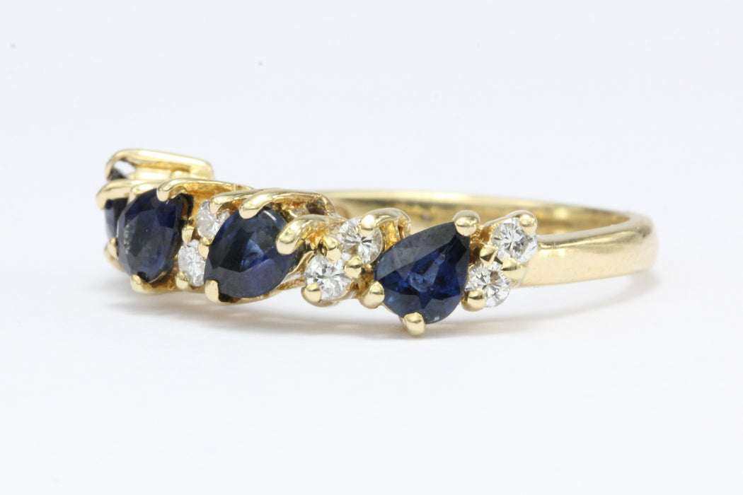 14K Gold Blue Sapphire & Diamond Ring Size 6.25 - Queen May