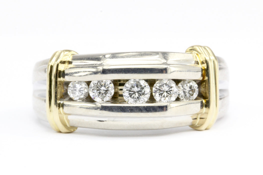 14K White & Yellow Gold Men's Diamond Dome Band Ring Size 11.25 - Queen May