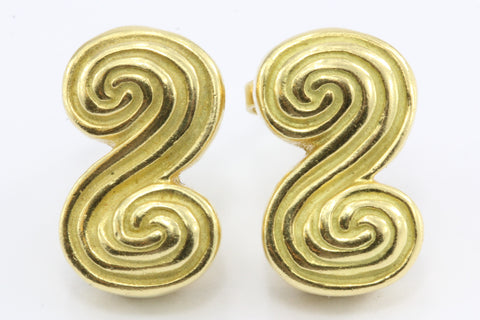 Tiffany & Co 18K Gold Swirl Earring