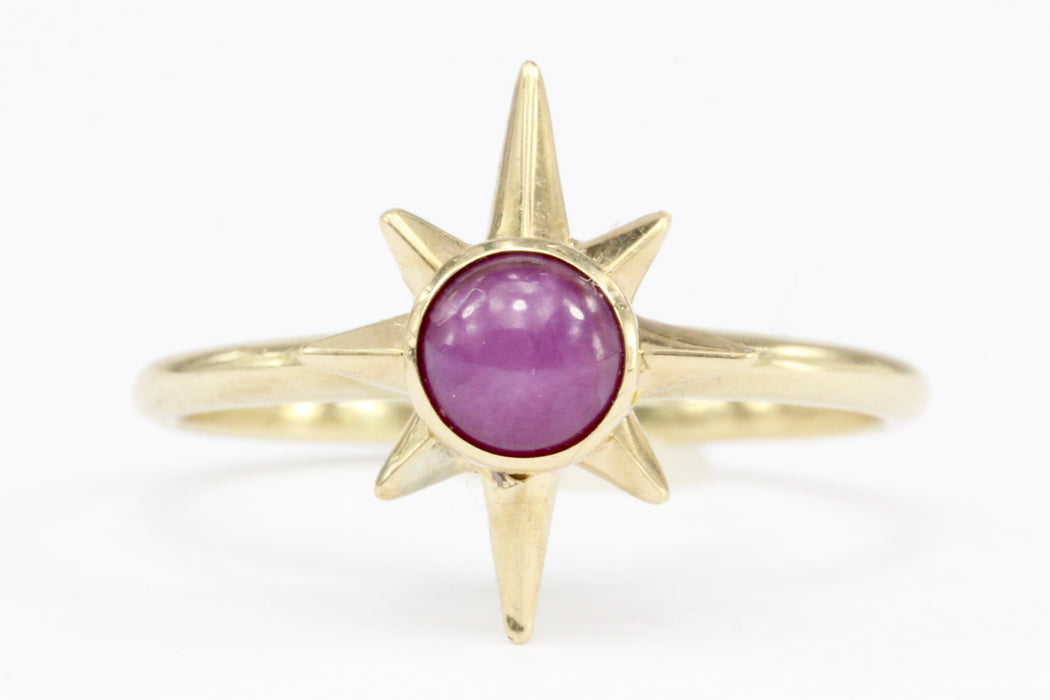 14K Yellow Gold Pink Star Sapphire Ring Size 7 - Queen May