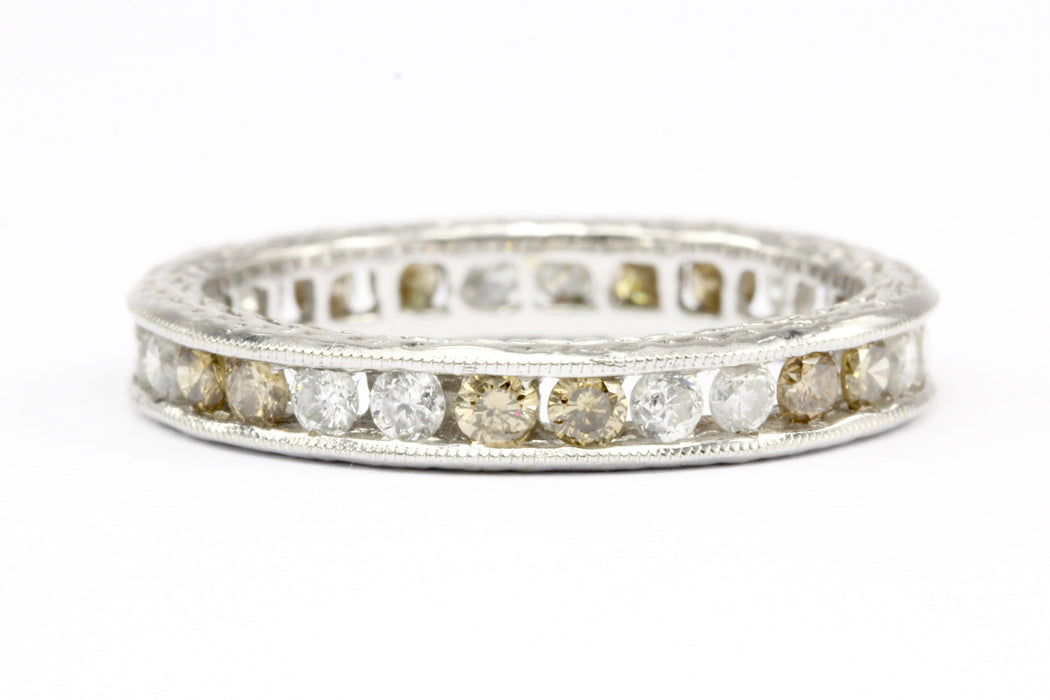 18K White Gold White and Champagne Diamond Eternity Band Ring Size 5.5 - Queen May