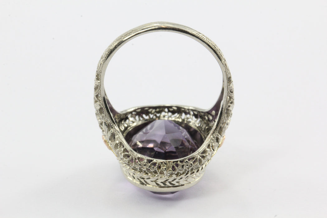 14k Gold and Amethyst Victorian Revival Ring
