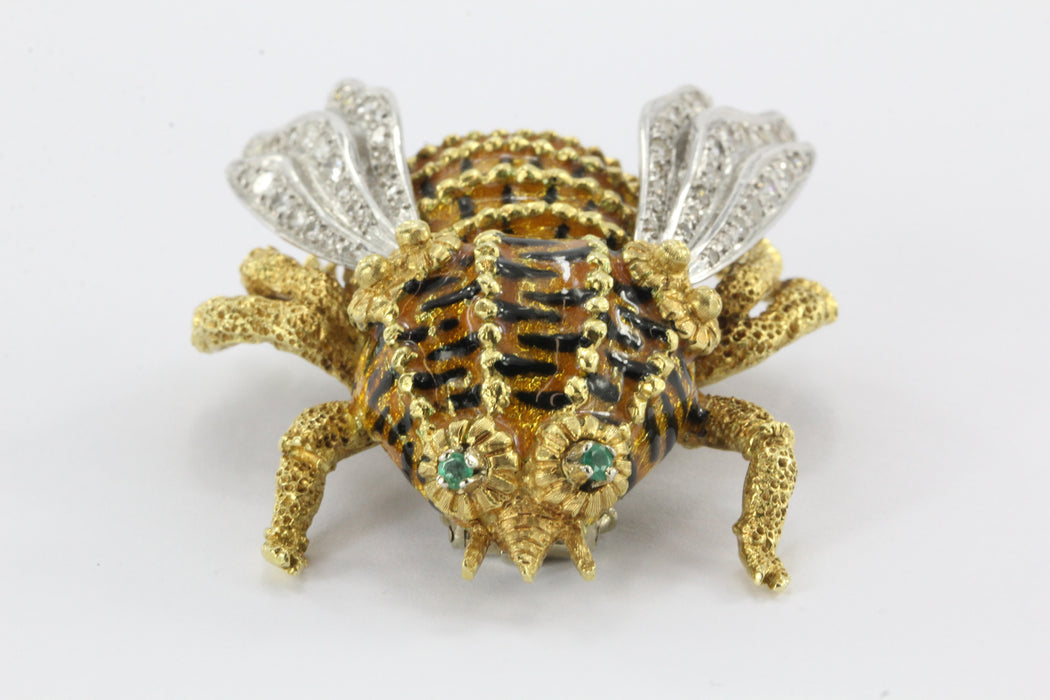 Large 18k handmade enamel bee with 1 carat single cut diamonds and emerald eyes - Queen May