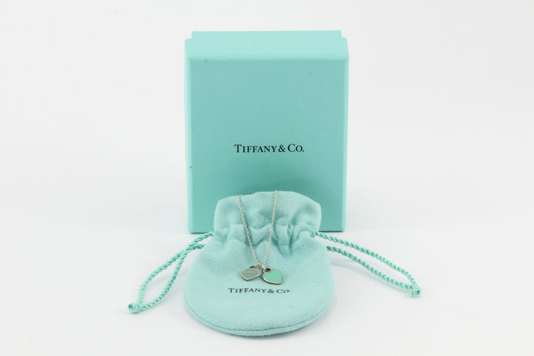 Tiffany & Co. Enamel  Sterling Silver Heart Pendant Necklace - Queen May