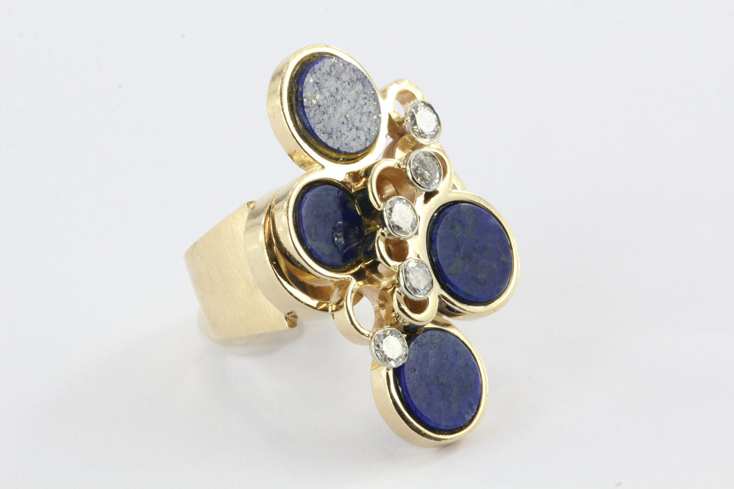 14k gold lapis disc and diamond mid century cocktail ring - Queen May