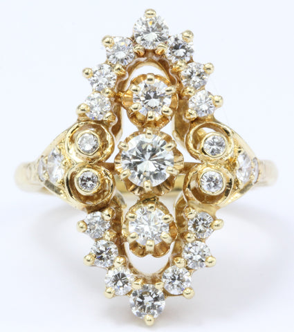 Victorian Revival 14K Gold Diamond Ring