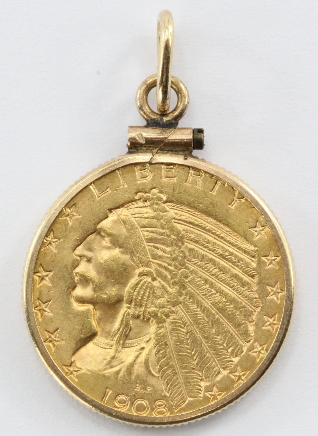 1908 US Indian Head Gold Five Dollar Half Eagle Coin In 14k Gold Bezel
