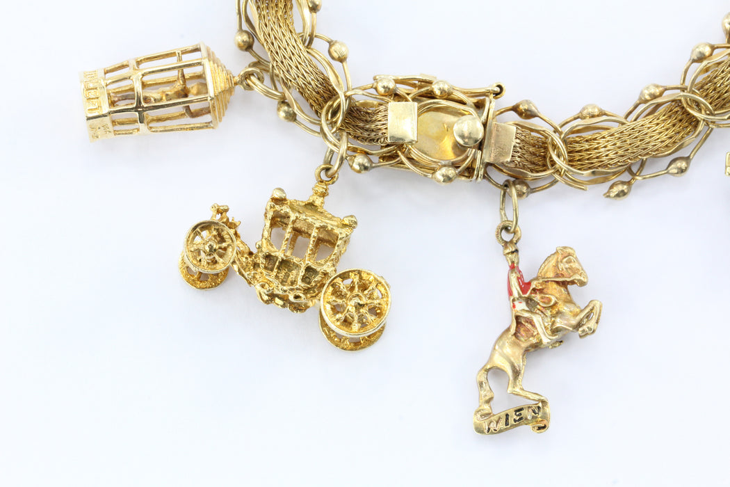Vintage Yellow Gold World Traveler Charm Bracelet w/ 9 Charms - Queen May