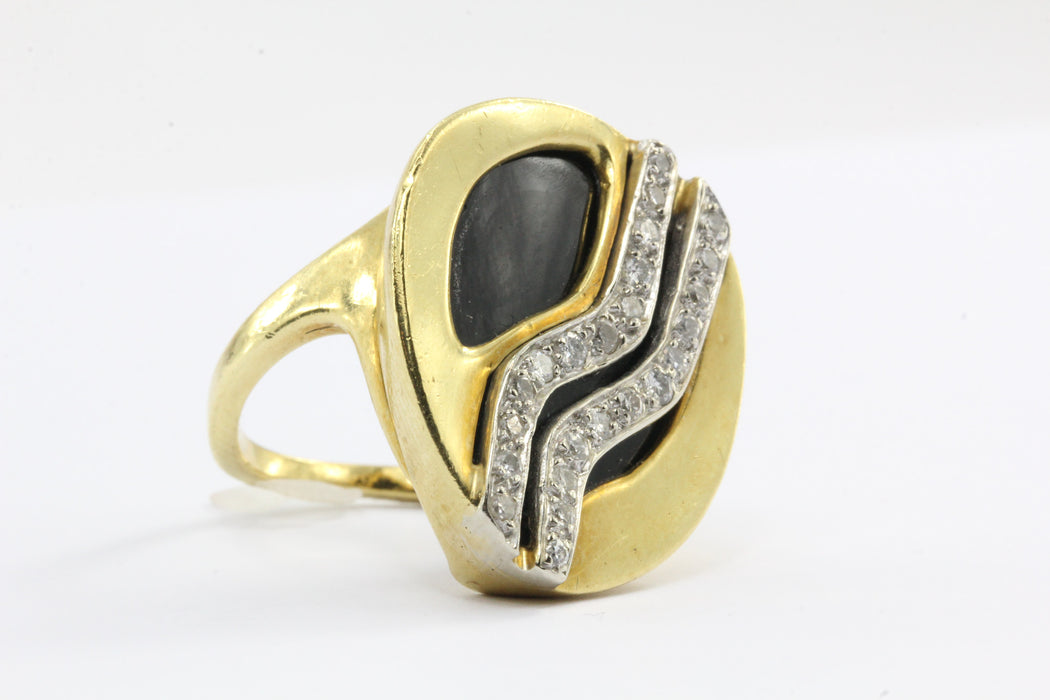 18K Gold Onyx and Diamond Cocktail Ring