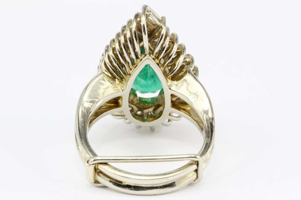 14K Yellow Gold GIA 3.5 Carat Pear Shaped Emerald and Diamond Halo Ring