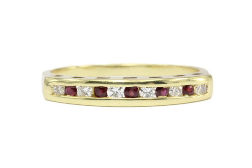 Cartier 18K Yellow Gold Diamond & Ruby Channel Set Half Band Ring Size 5.5