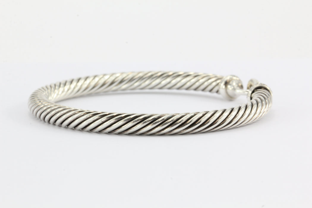 David Yurman Sterling Silver & Diamond Cable Bangle Bracelet 5mm - Queen May