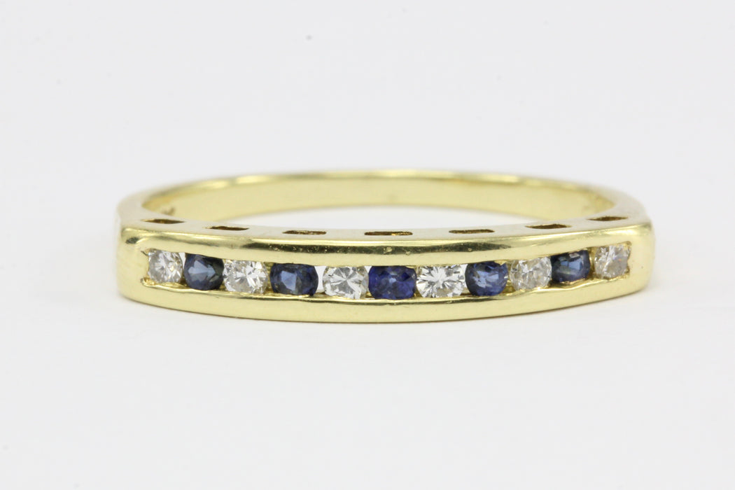 fe5aa18178942 Cartier 18K Yellow Gold Diamond & Sapphire Channel Set Half Band Ring Size  5.5