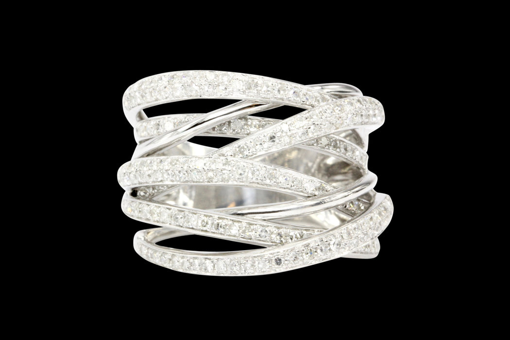 14K White Gold Crossover 1 CTW Diamond Ring - Queen May