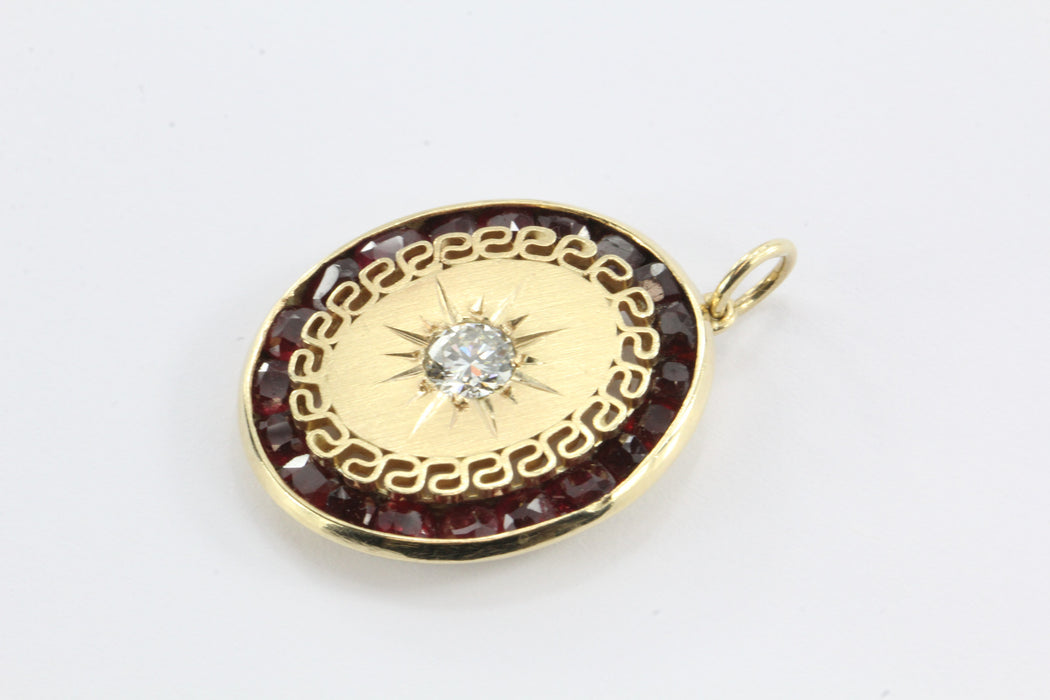 Victorian revival diamond and ruby pendant set in 14k gold