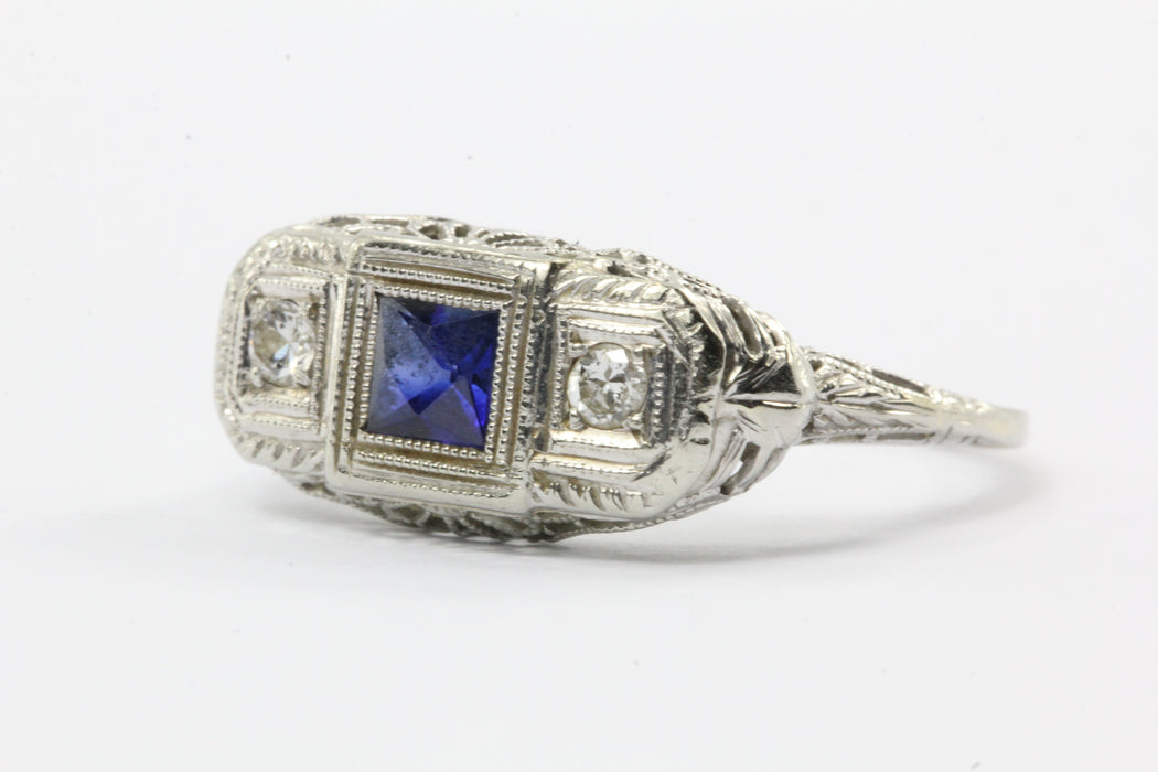 Art Deco 14k White Gold Filigree French Cut Sapphire and Diamond Ring