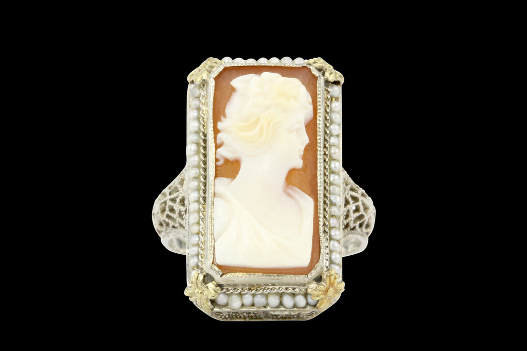 Art Deco White & Yellow Gold Filigree Cameo and Seed Pearl Ring - Queen May