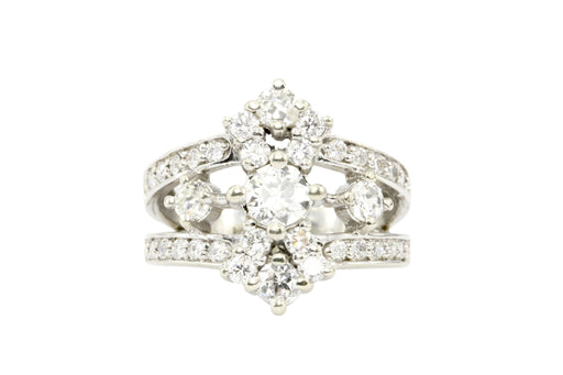 14K White Gold .42 CTR Old European Cut Diamond 1.12 CTW Diamond Ring - Queen May