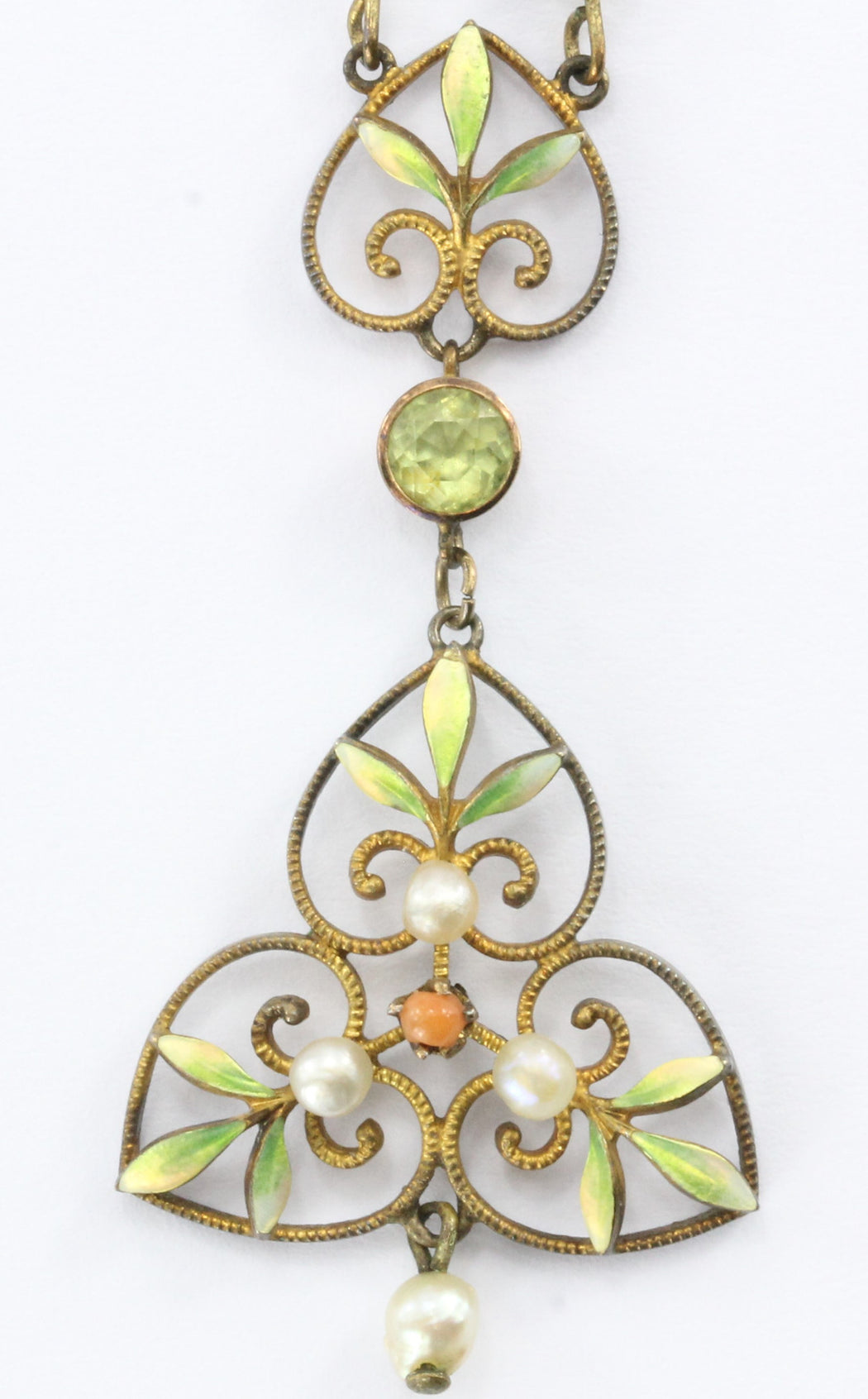 Art Nouveau 14K Gold Peridot, Coral, Pearl and Enamel Lavaliere