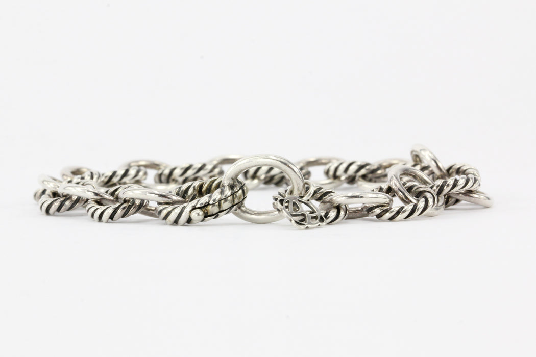 David Yurman Sterling Silver Large Oval Link Bracelet - Queen May