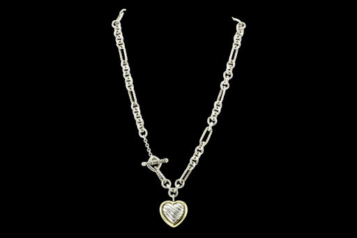 David Yurman Sterling Silver and 18K Yellow Gold Two Tone Cable Heart Figaro Necklace - Queen May