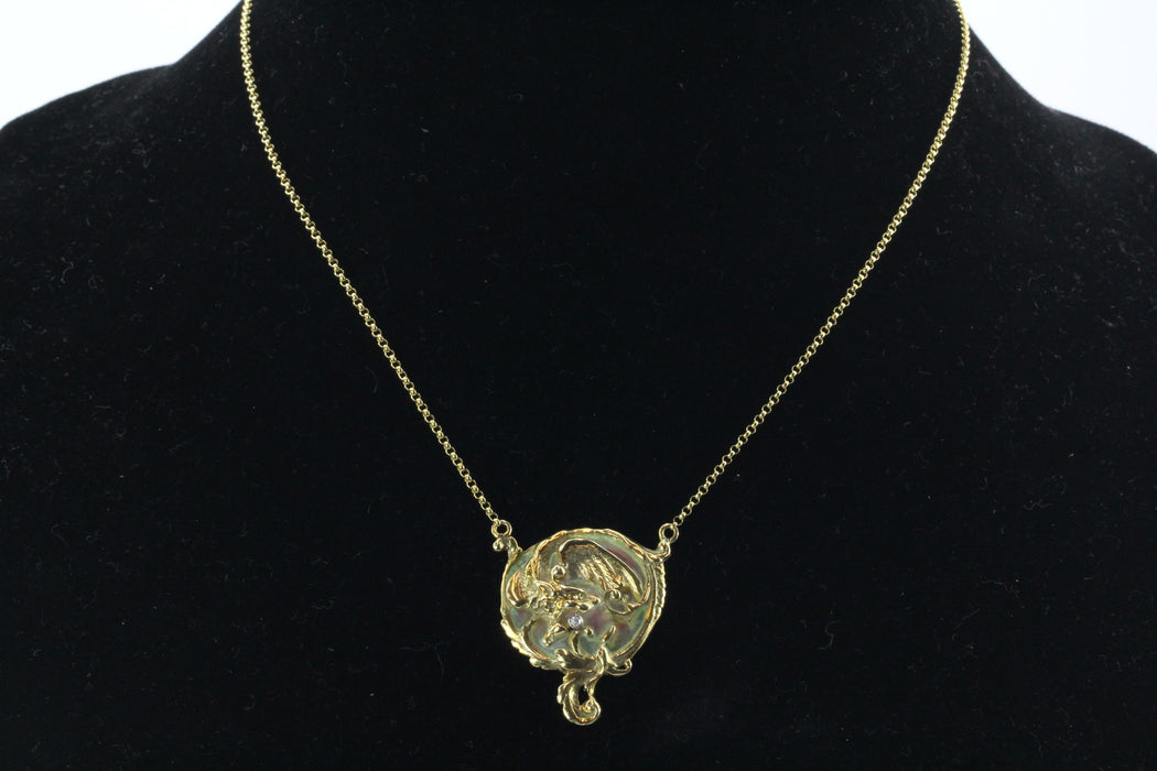 Art Nouveau Style plique a jour Dragon Diamond Necklace