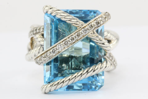 David Yurman Sterling Silver Cable Wrap Blue Topaz & Diamond Ring