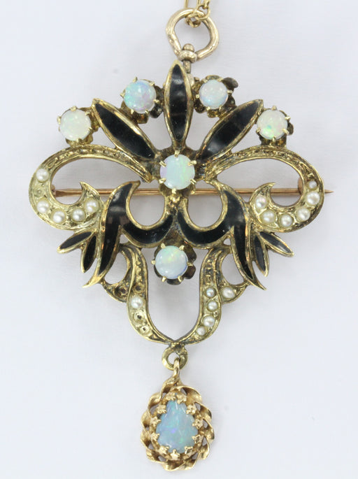 14k Art Nouveau Opal, Seed Pearl and Enamel Pendant / Brooch - Queen May