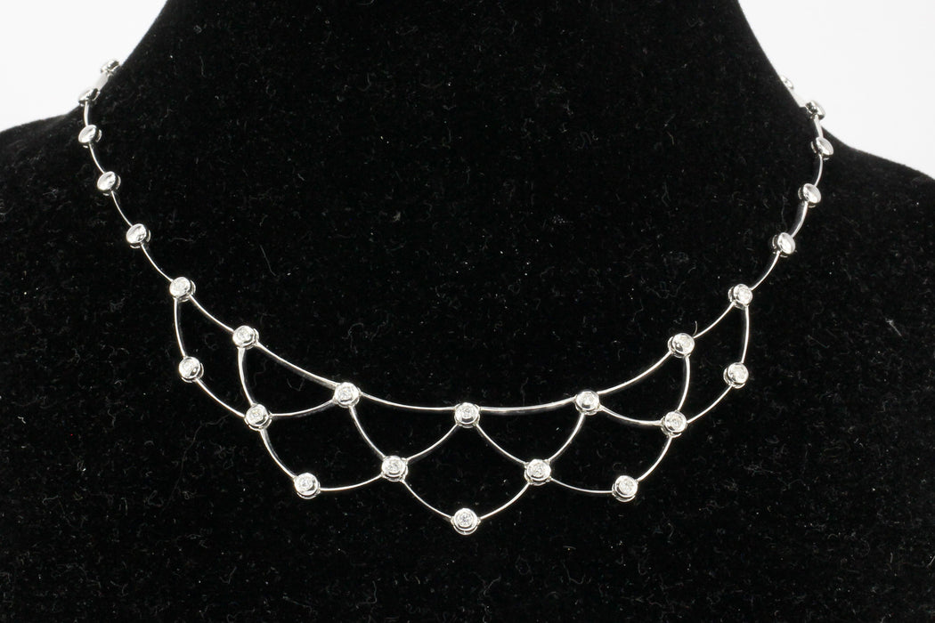 18K White Gold 1 CTW Diamond Bib Necklace - Queen May