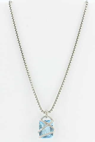 David Yurman Cable Wrap Blue Topaz & Diamond Pendant & Necklace