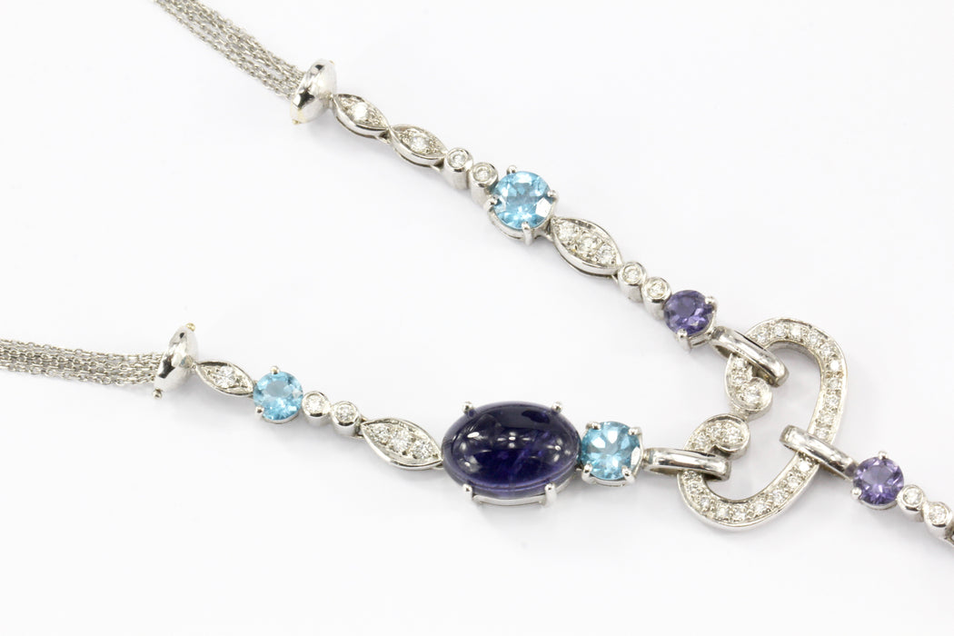 18K White Gold Blue Topaz, Tanzanite & Diamond Necklace