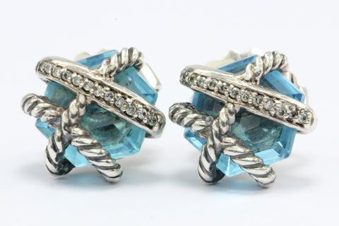 David Yurman Cable Wrap Sterling Silver Blue Topaz Diamond Earrings