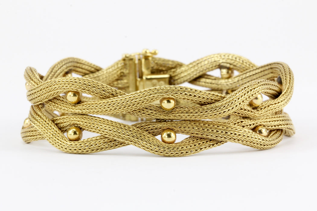 18K Yellow Gold Woven Ball Bracelet 7.25""