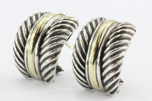 David Yurman Classic Cable Sterling Silver 14K Gold Huggie Earrings - Queen May