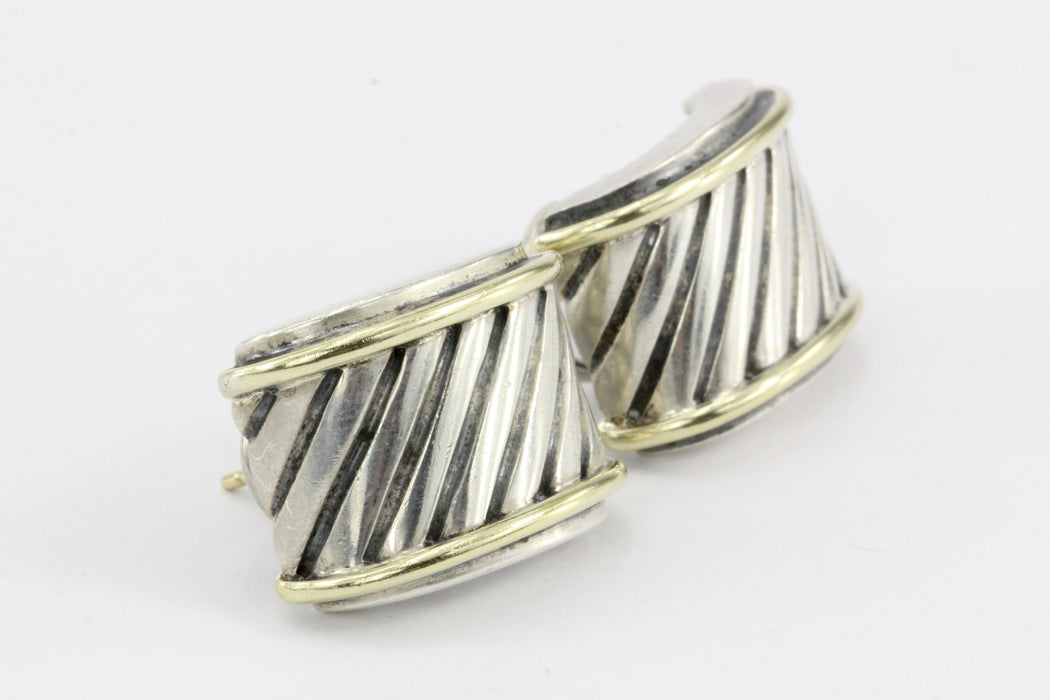 David Yurman Cable Classics Cigar Band Earrings Sterling Silver and 14K - Queen May
