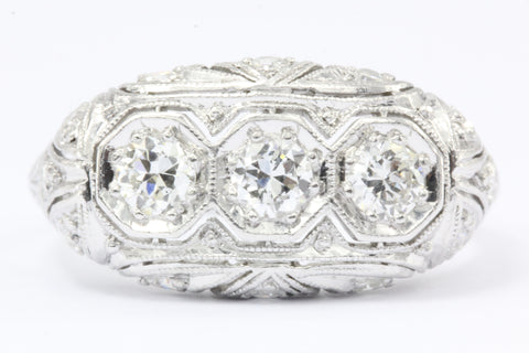 Art Deco Platinum Old European Cut Diamond 3 Stone Engagement Ring c.1920